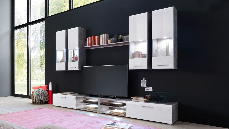 wohnwand spiders anbauwand wohnkombi in wei hochglanz und. Black Bedroom Furniture Sets. Home Design Ideas
