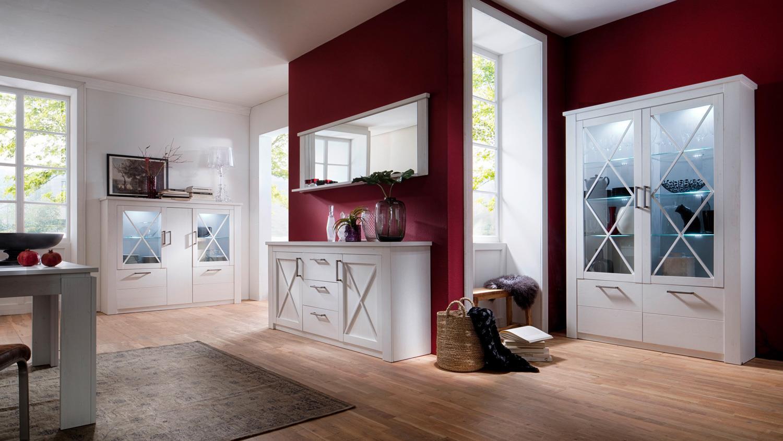 Wandspiegel Ablage Spiegel Rahmen weiß Pinie Struktur 197 cm Esszimmer Georgia