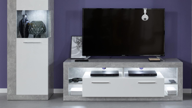 wohnwand 2 rock anbauwand wohnzimmer in wei hochglanz und. Black Bedroom Furniture Sets. Home Design Ideas
