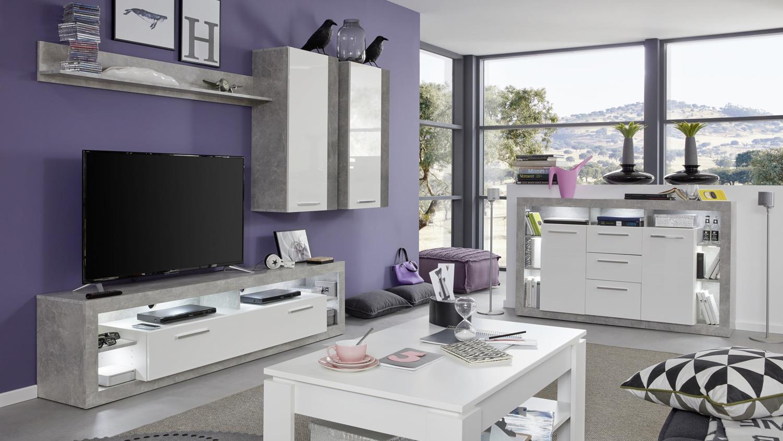 wohnwand 4 rock anbauwand wohnzimmer in wei hochglanz und. Black Bedroom Furniture Sets. Home Design Ideas