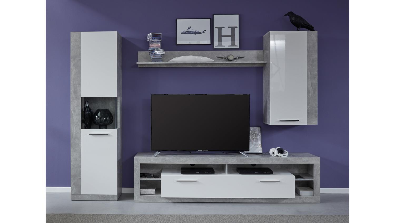 wohnwand 6 rock anbauwand wohnzimmer in wei hochglanz und. Black Bedroom Furniture Sets. Home Design Ideas