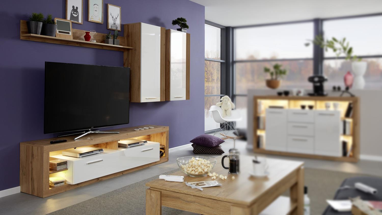 Wohnwand 4 ROCK Anbauwand Wohnzimmer weiß Hochglanz und Wotan Eiche
