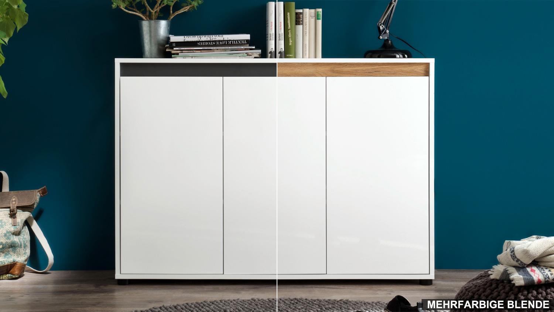Sideboard 1 Sol Anrichte Kommode In Weiss Hochglanz Lack Grau Alteiche