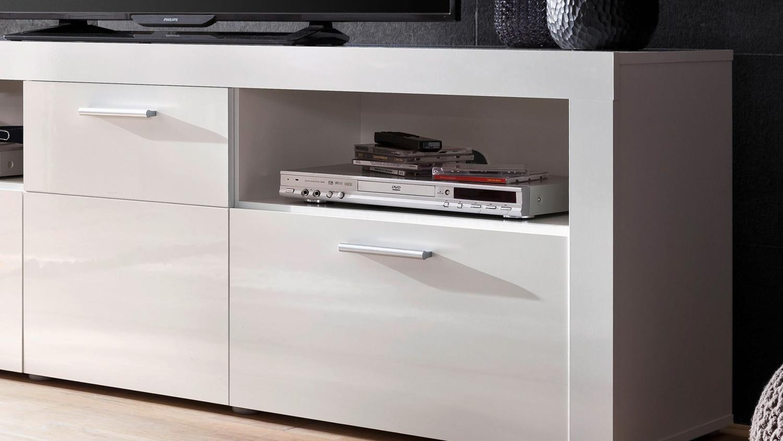 tv board kito lowboard fernsehschrank schrank in wei hochglanz. Black Bedroom Furniture Sets. Home Design Ideas