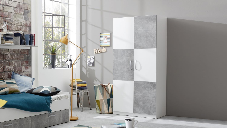 Kleiderschrank CANARIA Schrank für Jugendzimmer weiß und Stone grau