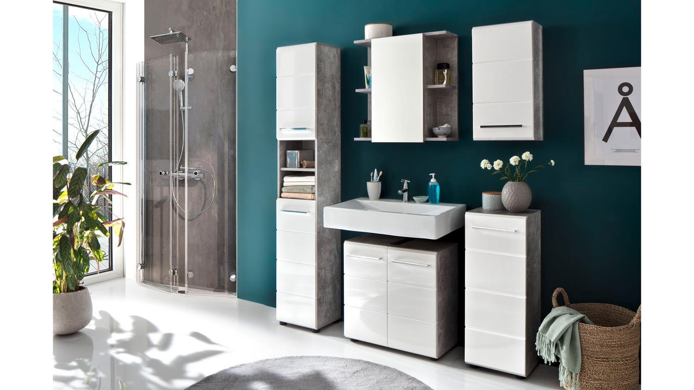 h ngeschrank nano badezimmerschrank wei hochglanz und. Black Bedroom Furniture Sets. Home Design Ideas