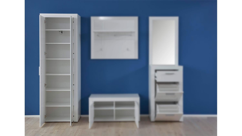 garderobenschrank kito garderobe schuhschrank in wei hochglanz. Black Bedroom Furniture Sets. Home Design Ideas