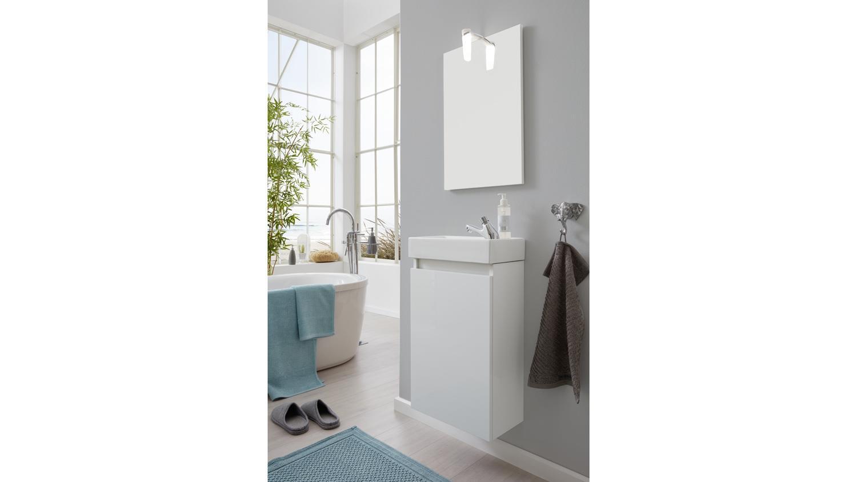 Badezimmer Set CHAMP Badmöbel Weiß Mit Keramik Waschbecken