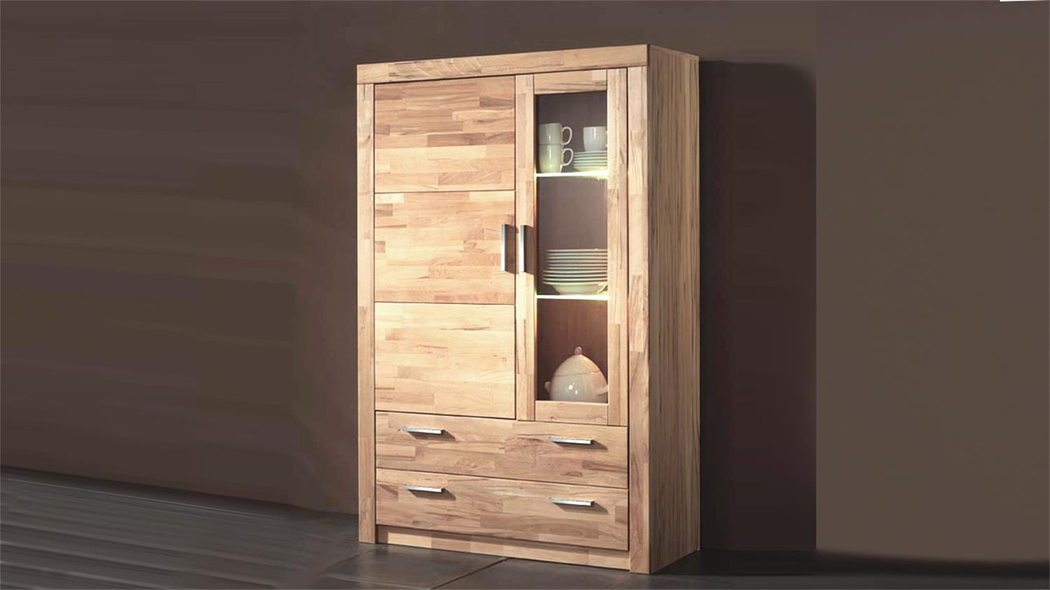 vitrine simone schrank in kernbuche teilmassiv 160cm hoch. Black Bedroom Furniture Sets. Home Design Ideas