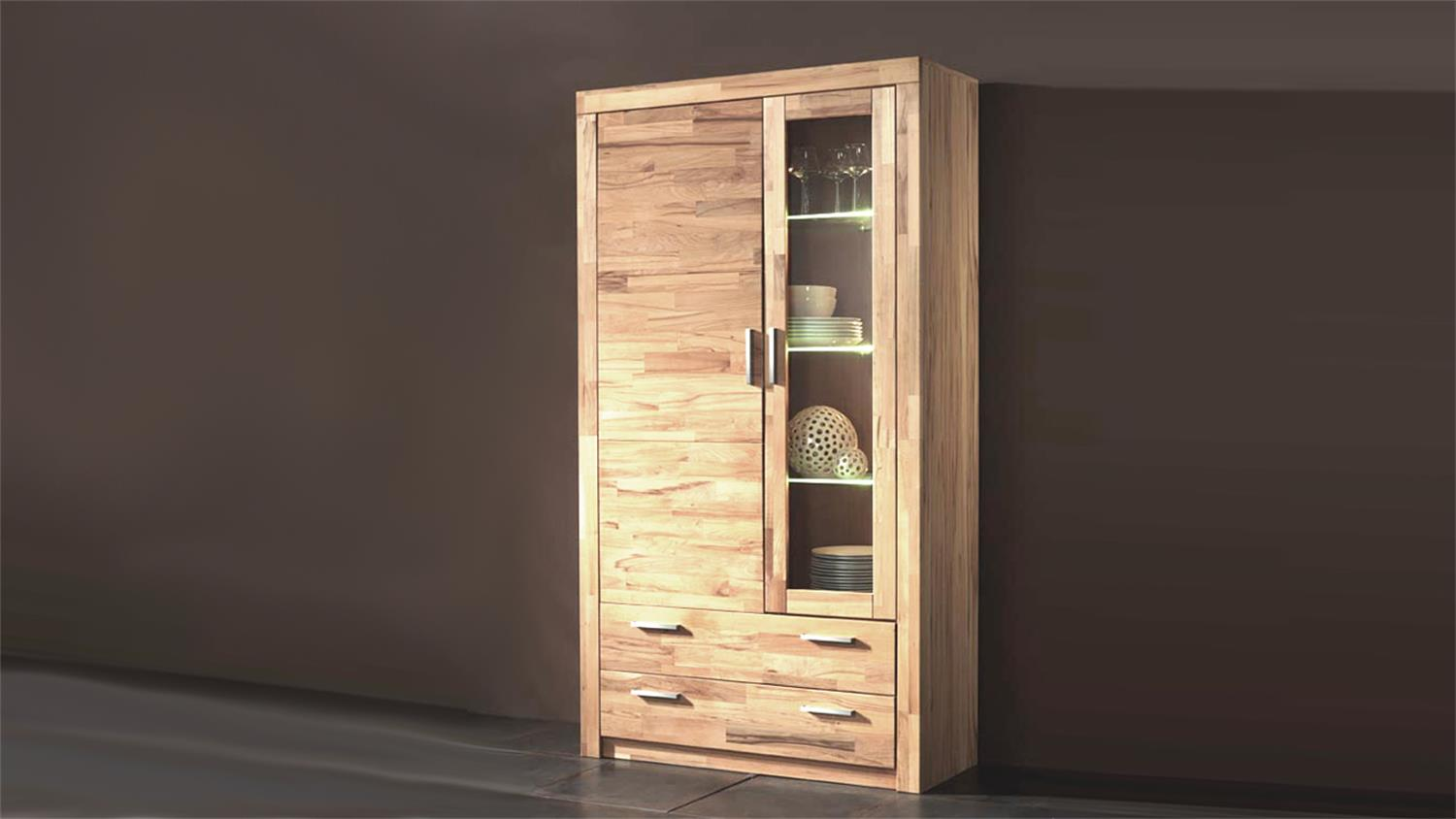 vitrine simone schrank in kernbuche teilmassiv 190 cm hoch. Black Bedroom Furniture Sets. Home Design Ideas