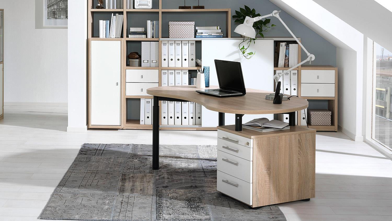 schreibtisch hyper b rotisch rollcontainer wildeiche wei wellem bel. Black Bedroom Furniture Sets. Home Design Ideas