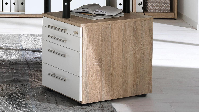 Schreibtisch HYPER Bürotisch Rollcontainer Wildeiche weiß Wellemöbel