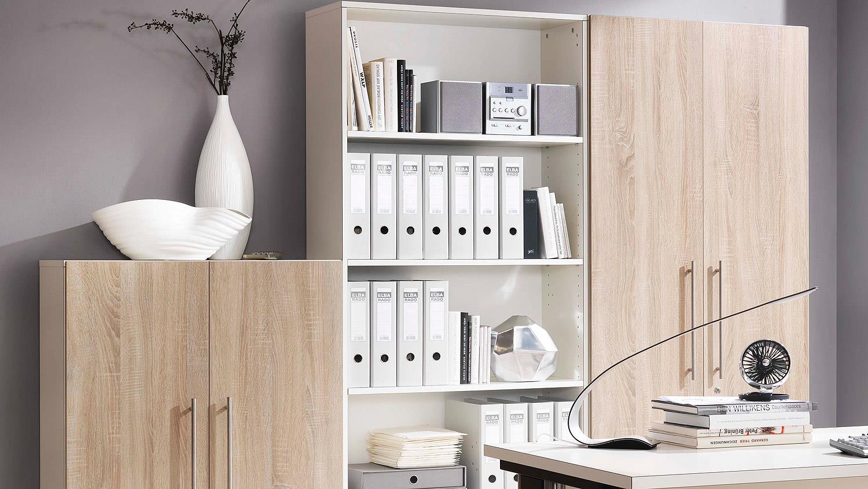 Büroset BÜRORAUMWUNDER Büromöbel Home-Office in weiß und Esche Coimbra