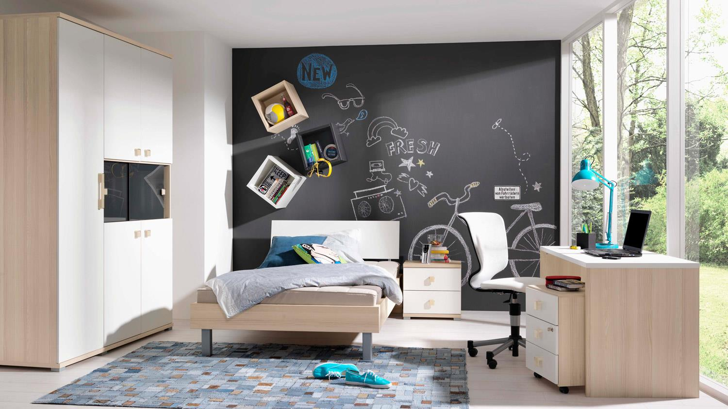 jugendzimmer set unlimited bett schrank esche coimbra wei wellem bel. Black Bedroom Furniture Sets. Home Design Ideas
