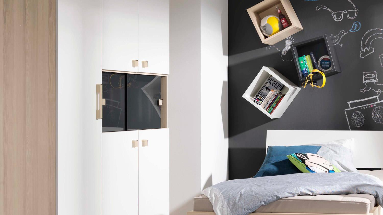 Jugendzimmer Set UNLIMITED Bett Schrank Esche Coimbra weiß Wellemöbel