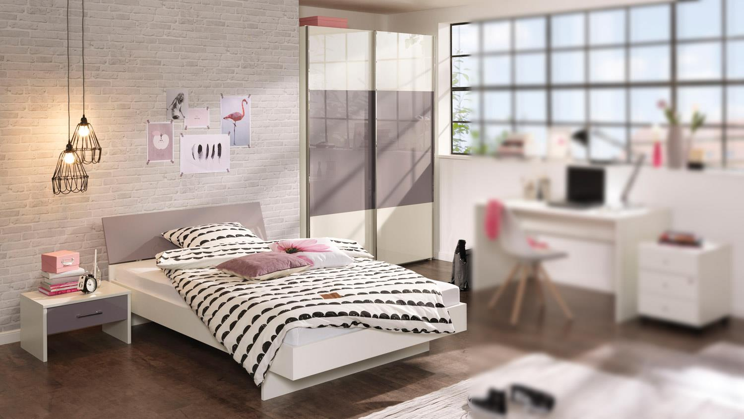 jugendzimmer set jugendwunder in lila grau wei hochglanz wellem bel. Black Bedroom Furniture Sets. Home Design Ideas