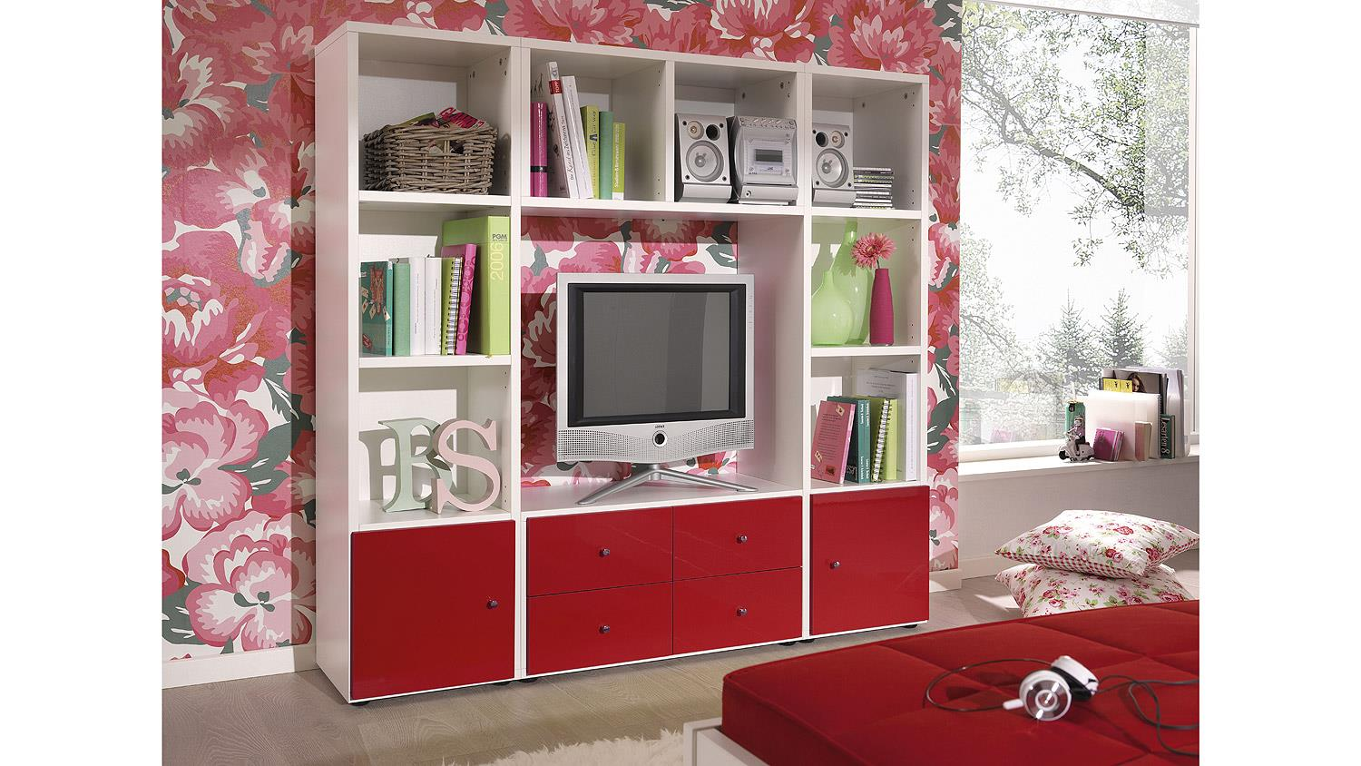 regalwand jugendwunder regal jugendzimmer rot hochglanz. Black Bedroom Furniture Sets. Home Design Ideas