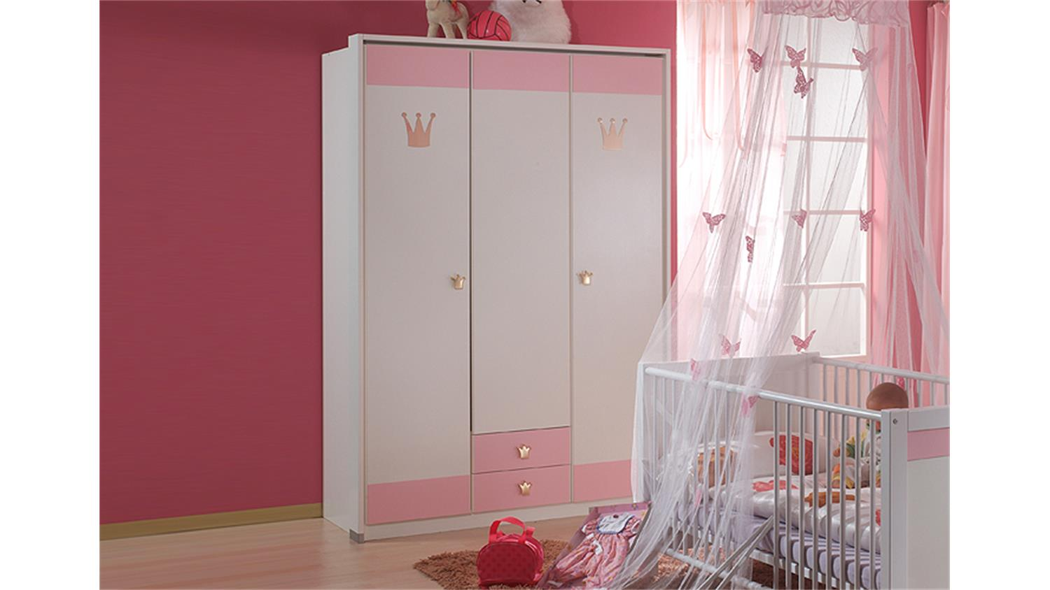 kleiderschrank cinderella babyzimmer in wei und ros. Black Bedroom Furniture Sets. Home Design Ideas