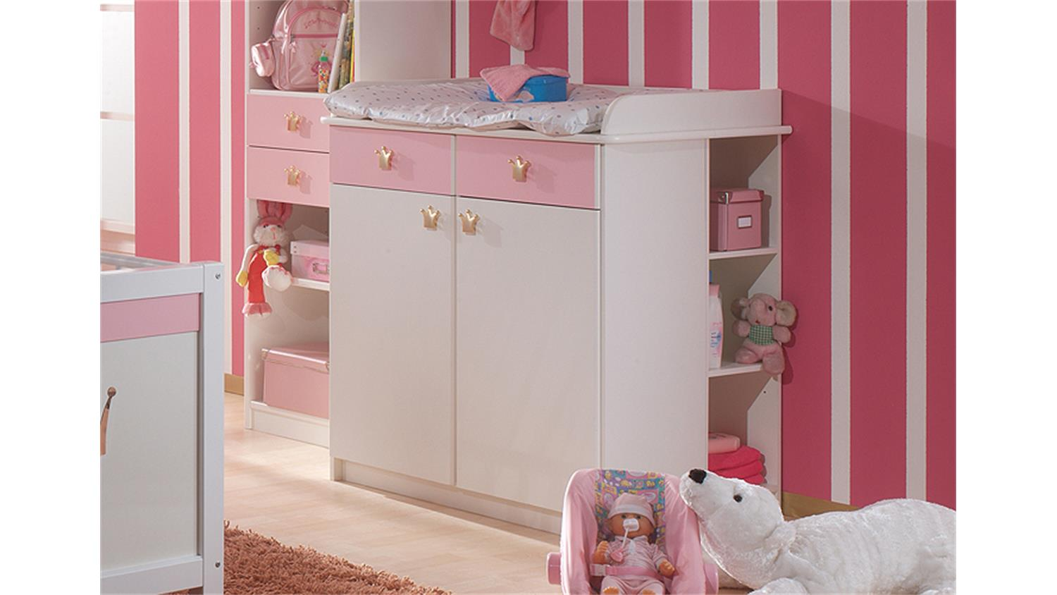 wickelkommode cinderella babyzimmer in wei und ros. Black Bedroom Furniture Sets. Home Design Ideas