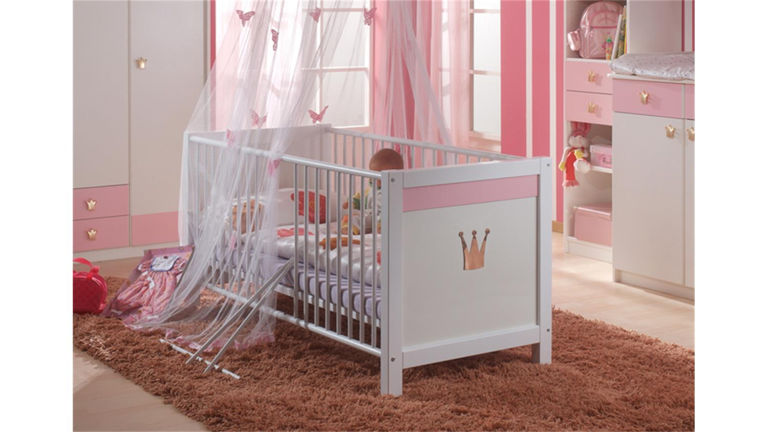 babyzimmer cinderella kinderbett wickelkommode in wei ros. Black Bedroom Furniture Sets. Home Design Ideas