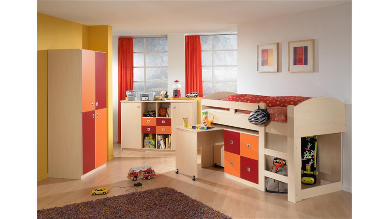 kleiderschrank sunny ahorn orange und rot 2 t rig. Black Bedroom Furniture Sets. Home Design Ideas