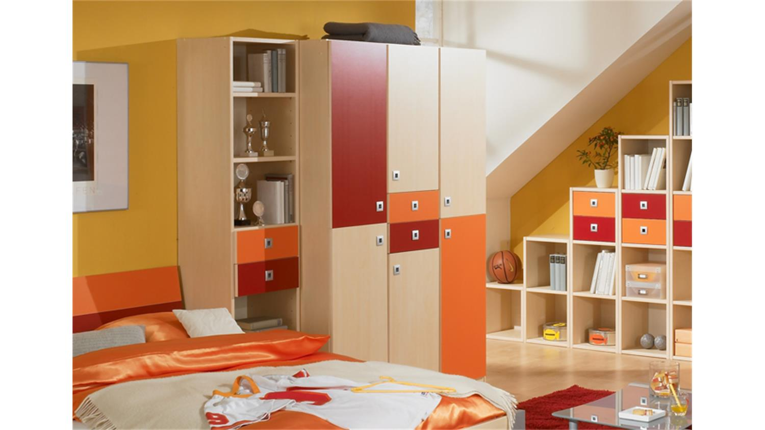 kleiderschrank sunny 6 t rig ahorn orange rot. Black Bedroom Furniture Sets. Home Design Ideas