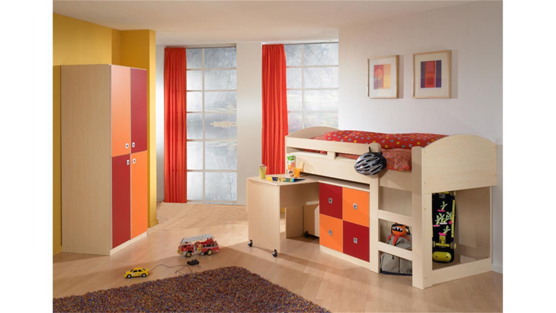 hochbett sunny ahorn orange rot mit schreibtisch kommode. Black Bedroom Furniture Sets. Home Design Ideas
