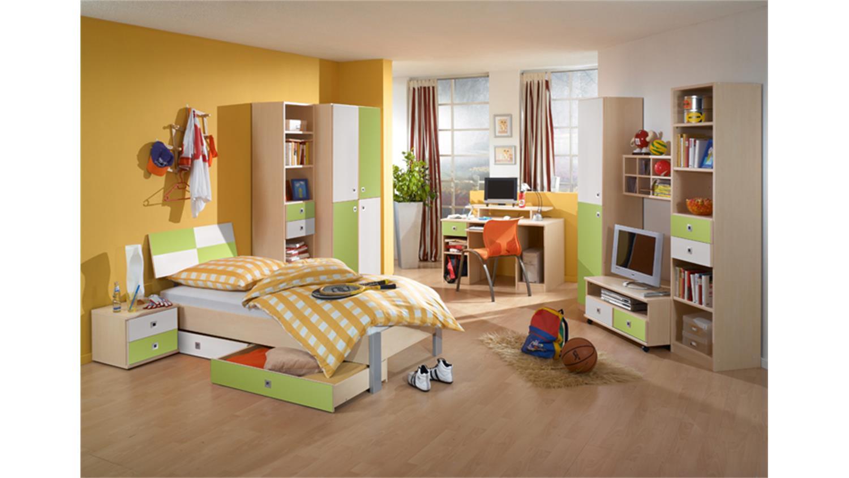 jugendzimmer sunny 3 teilig ahorn apfelgr n wei. Black Bedroom Furniture Sets. Home Design Ideas