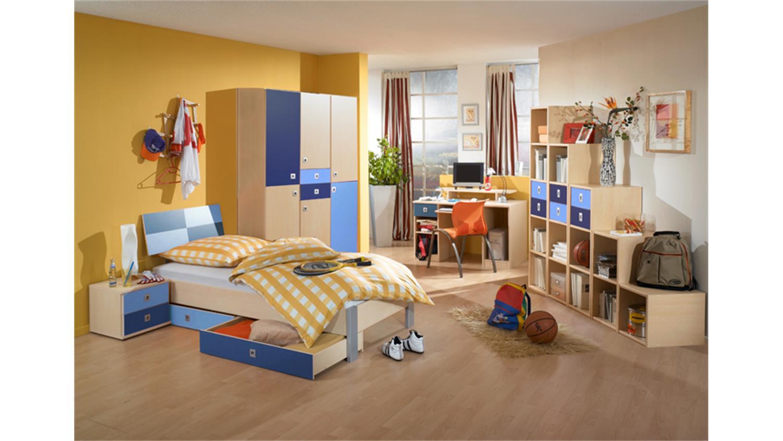 Jugendzimmer sunny 3 teilig ahorn iceblau marineblau for Jugendzimmer 3 teilig
