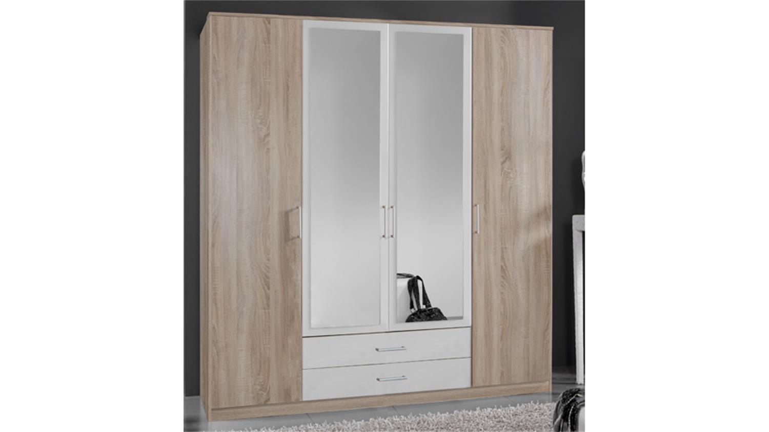 kleiderschrank polo sonoma eiche s gerau und wei b 180 cm. Black Bedroom Furniture Sets. Home Design Ideas