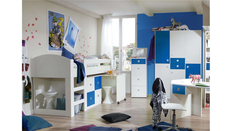 jugendzimmer sunny 4 teilig wei und blau. Black Bedroom Furniture Sets. Home Design Ideas