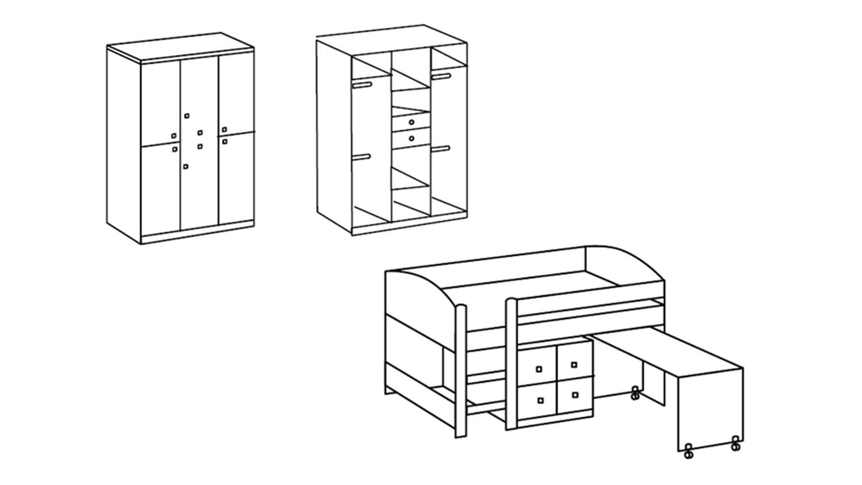 jugendzimmer sunny 4 teilig wei und sonoma eiche s gerau. Black Bedroom Furniture Sets. Home Design Ideas