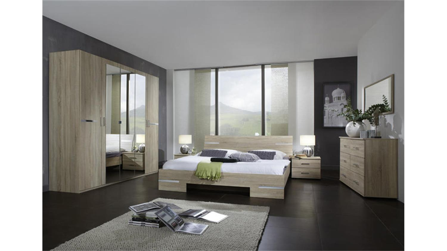 schlafzimmer kombi 1 eiche sonoma s gerau chromabsetzungen. Black Bedroom Furniture Sets. Home Design Ideas