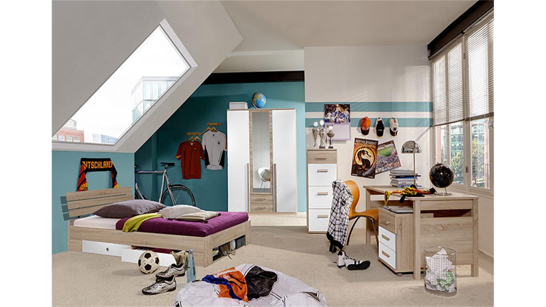 sophie kleiderschrank b 135 sonoma eiche s gerau wei. Black Bedroom Furniture Sets. Home Design Ideas