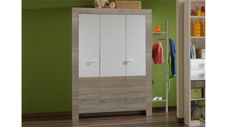 kleiderschrank pika sonoma eiche s gerau und wei 135 cm. Black Bedroom Furniture Sets. Home Design Ideas