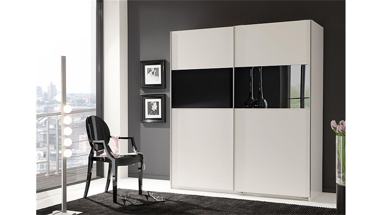 schwebet renschrank zelda wei mit schwarzem glas 179 cm. Black Bedroom Furniture Sets. Home Design Ideas