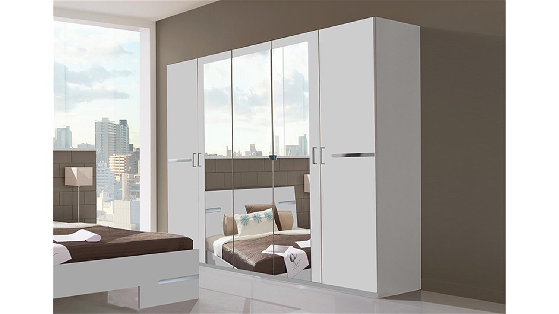 dreht renschrank anna in alpinwei mit spiegel 225 cm. Black Bedroom Furniture Sets. Home Design Ideas