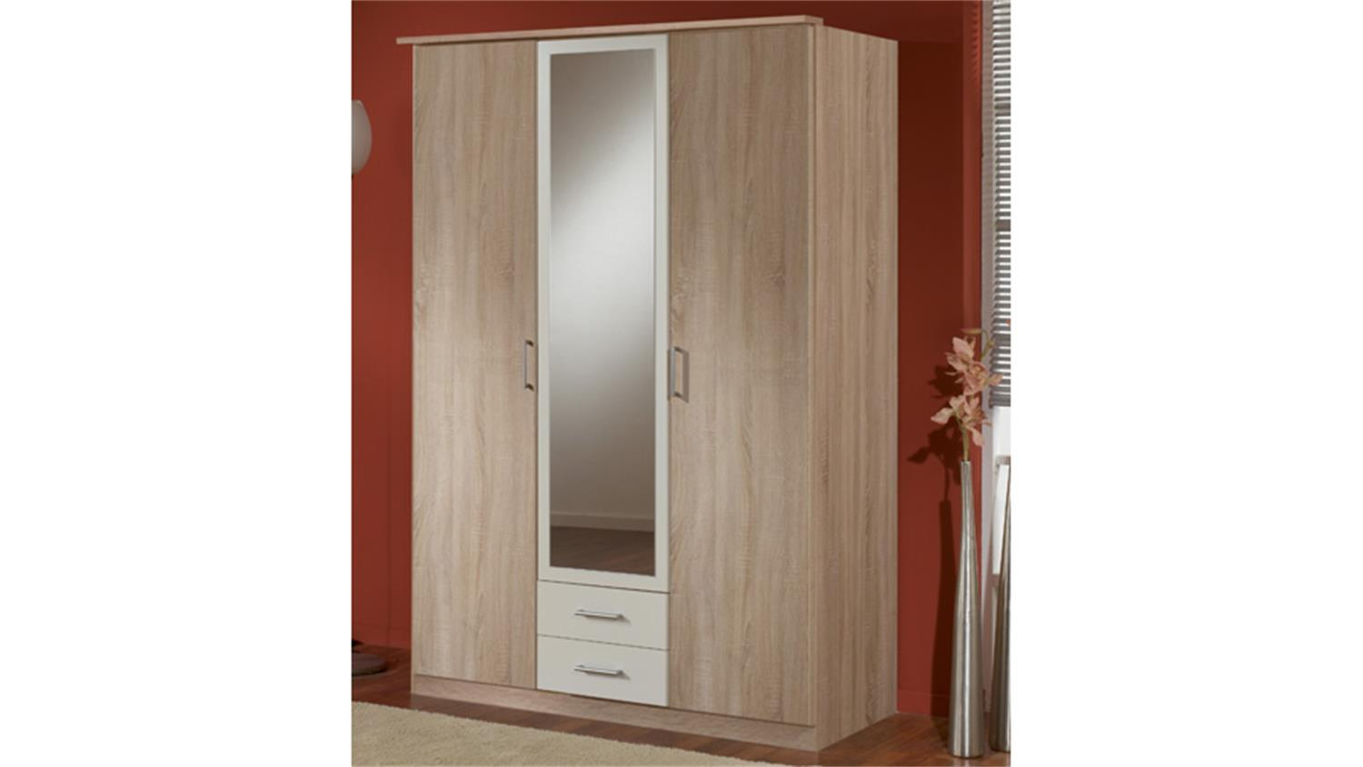 kleiderschrank polo sonoma eiche s gerau und wei b 135 cm. Black Bedroom Furniture Sets. Home Design Ideas