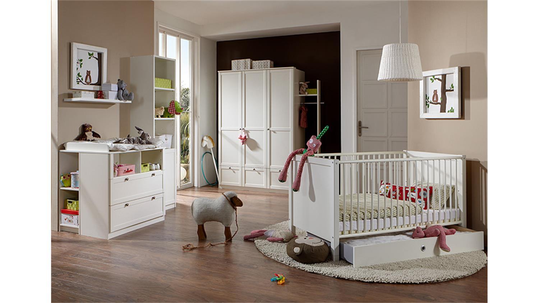 Babyzimmerset Filou 3 Teilig Bett Schrank Kommode Alpinweiss