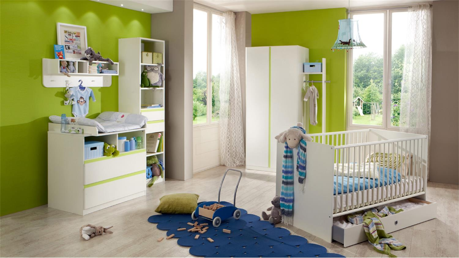 kleiderschrank kinderzimmer bibi 2 t rig wei und apfelgr n. Black Bedroom Furniture Sets. Home Design Ideas