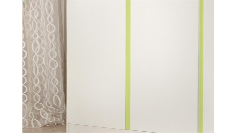 Kleiderschrank Kinderzimmer BIBI 3-türig weiß und apfelgrün