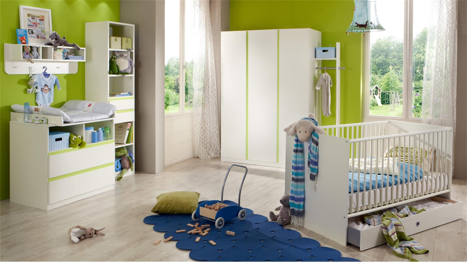 regal bibi standregal kinderzimmer babyzimmer wei apfelgr n. Black Bedroom Furniture Sets. Home Design Ideas