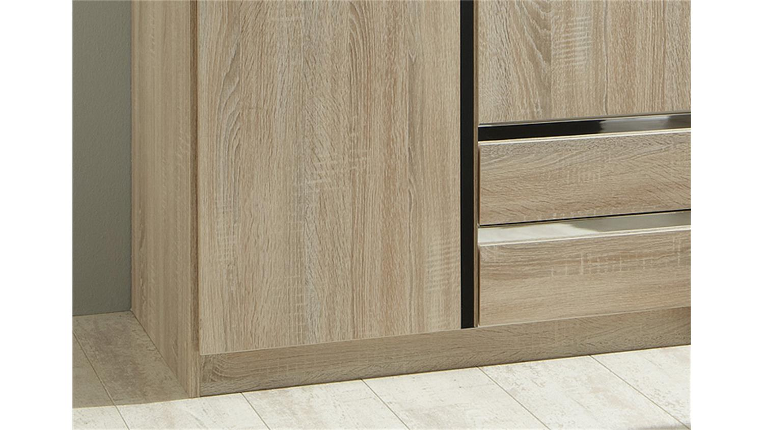 kleiderschrank line sonoma eiche s gerau und chrom 90 cm. Black Bedroom Furniture Sets. Home Design Ideas