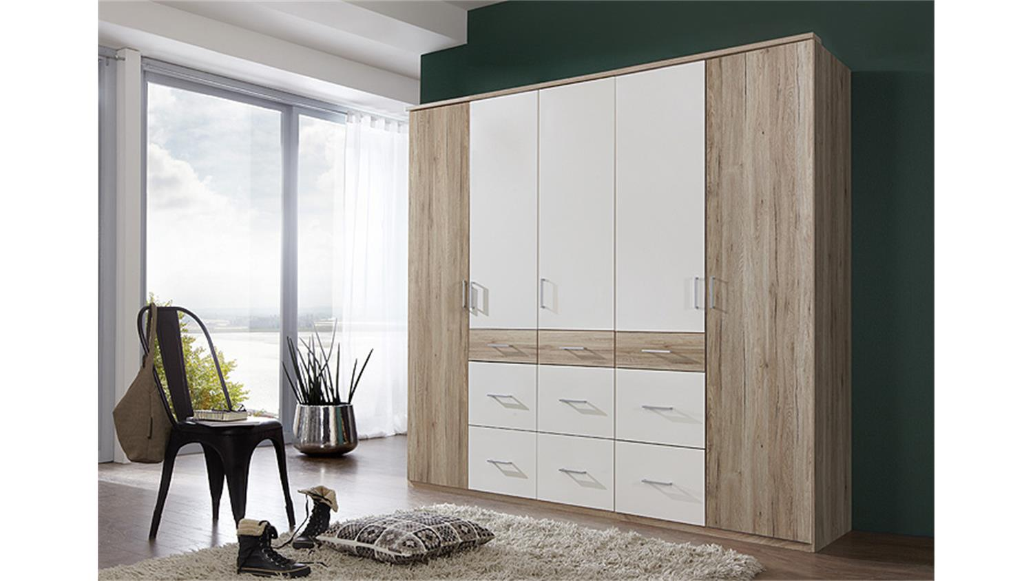 kleiderschrank click 2 san remo eiche wei 225. Black Bedroom Furniture Sets. Home Design Ideas
