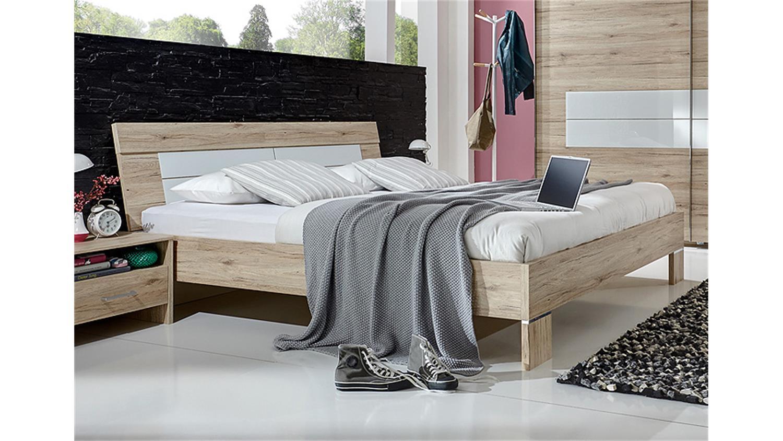 WINNER Schlafzimmerbett in San Remo Eiche weiß 160x200