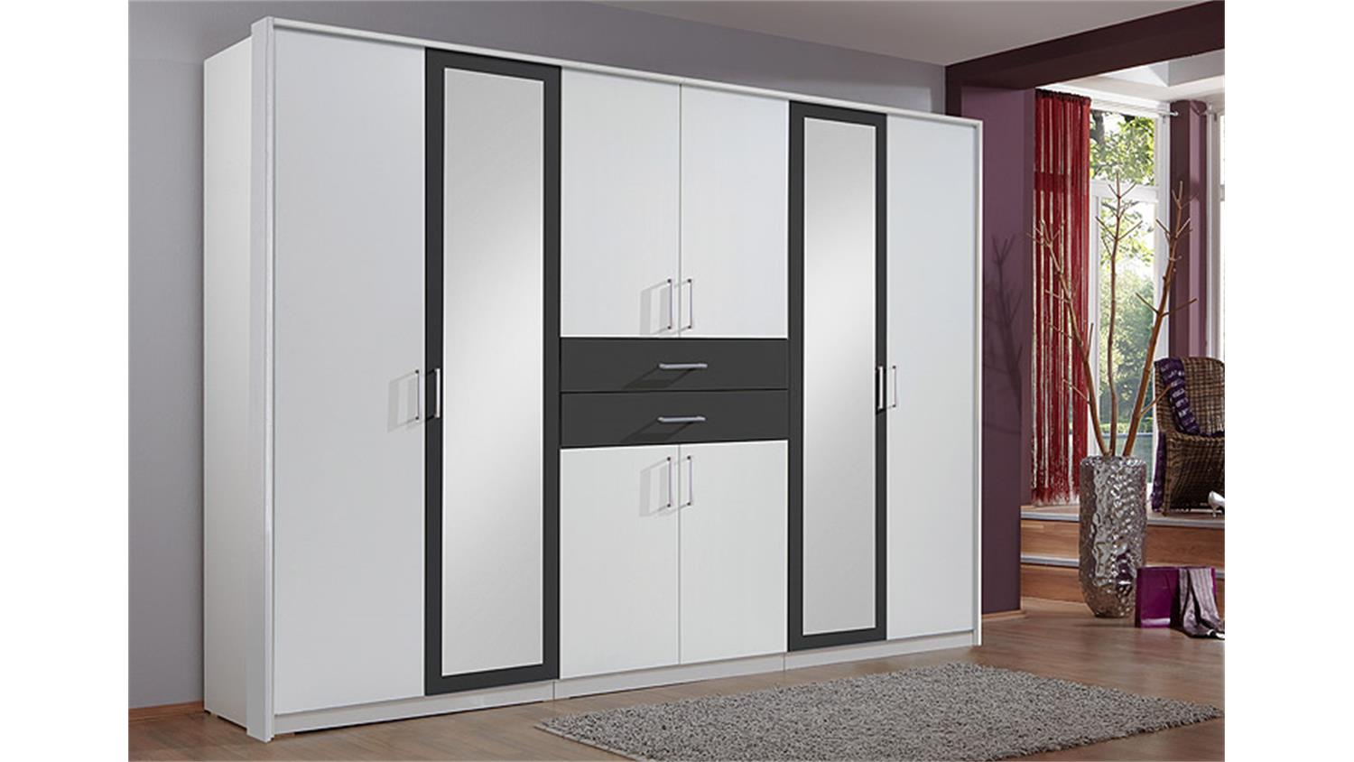 kleiderschrank diver wei absetzungen anthrazit b 270 cm. Black Bedroom Furniture Sets. Home Design Ideas
