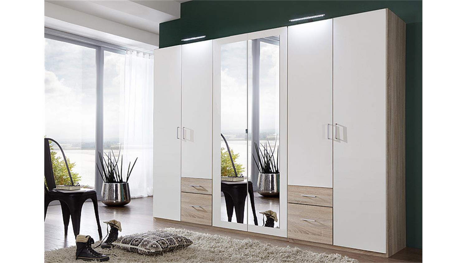 kleiderschrank freiburg in eiche s gerau und wei mit spiegel 270 cm. Black Bedroom Furniture Sets. Home Design Ideas
