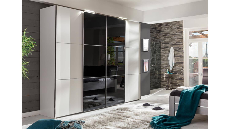 Schwebetürenschrank grau schwarz  Escape Alpinweiß Glasfront schwarz 300 cm