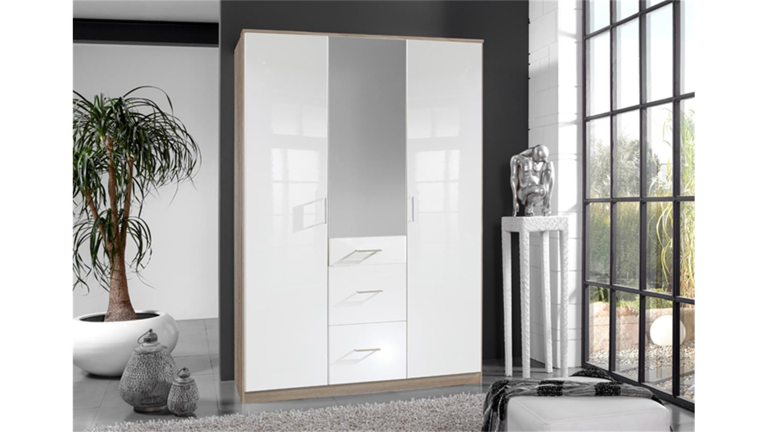 kleiderschrank clack hochglanz wei eiche mit spiegel 135 cm. Black Bedroom Furniture Sets. Home Design Ideas