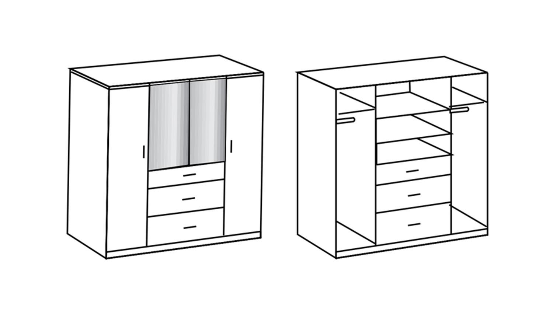kleiderschrank clack hochglanz wei alpinwei spiegel 180 cm. Black Bedroom Furniture Sets. Home Design Ideas